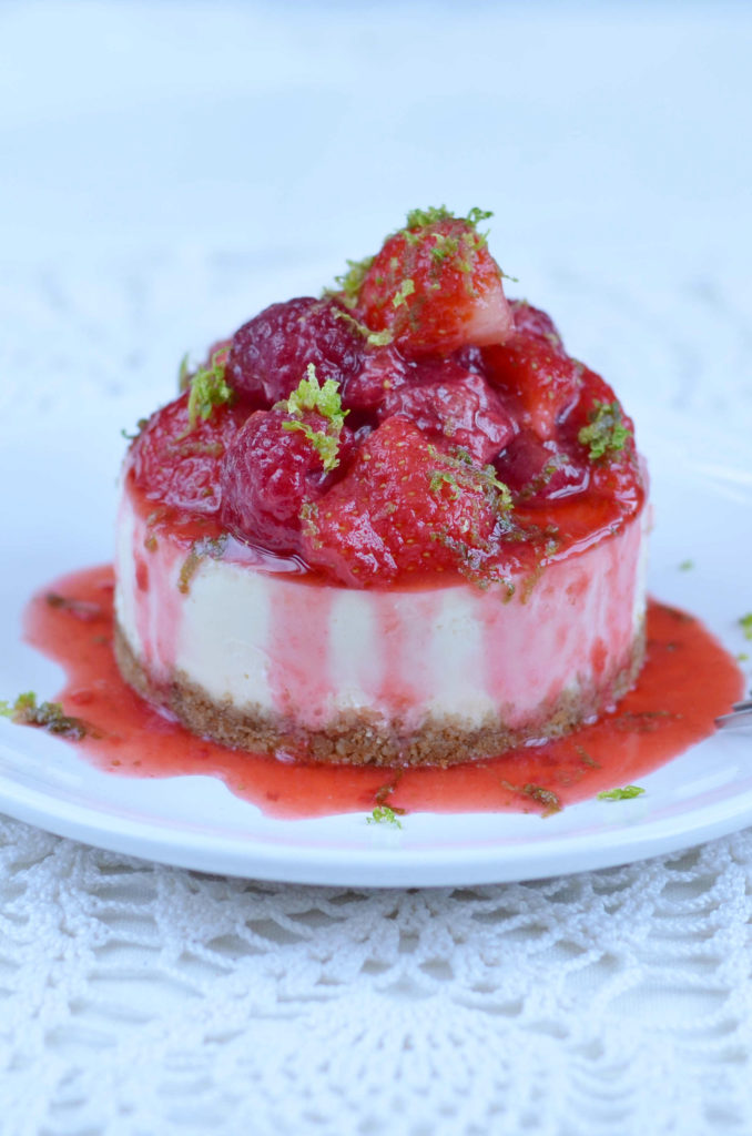 Mini Cheesecakes with False Strawberry & Raspberry Compote