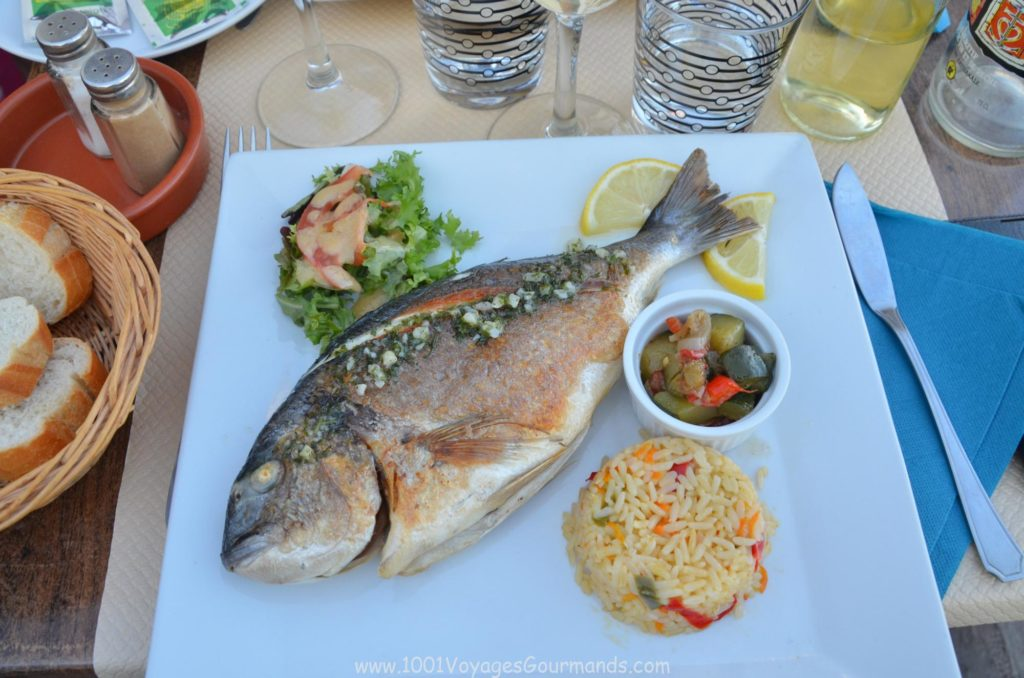 fresh dorada with grilled veggies and rice from Camargue, that we had close to the harbous in Saintes-Maries-de-la-Merfresh dorada with grilled veggies and rice from Camargue, that we had close to the harbous in Saintes-Maries-de-la-Mer