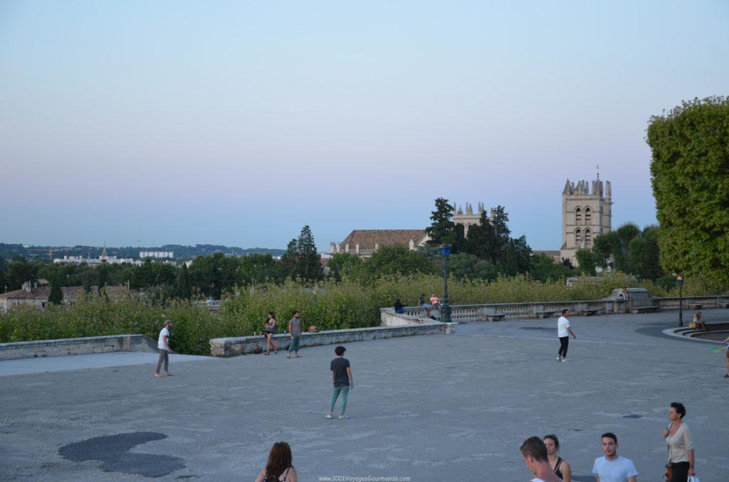 Výhled na katedrálu Saint Pierre z Promenade du Peyrou