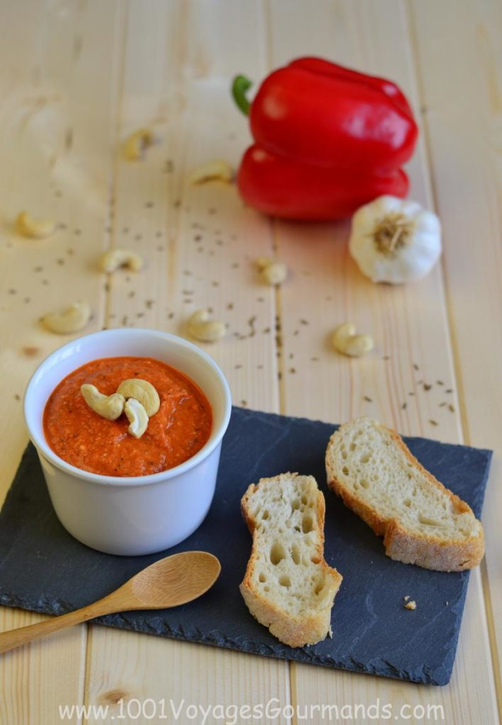 Yummy red pepper & nut tapenade made from grilled red peppers and a mixture of cashews and peanuts. Can be used also as a dip or sauce for pasta or fish!
