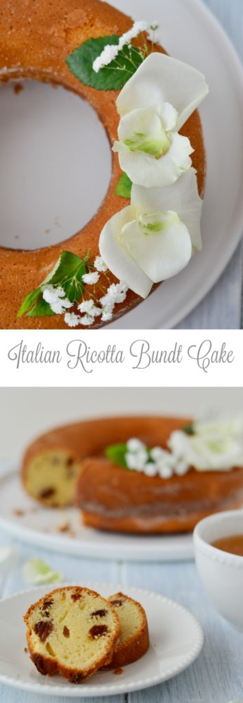 "This soft and slightly moist Italian Ricotta Bundt Cake ""Ciambella à la ricotta"" reminds our Czech Cottage Cheese Bundt Cake and is easy and quick to do."