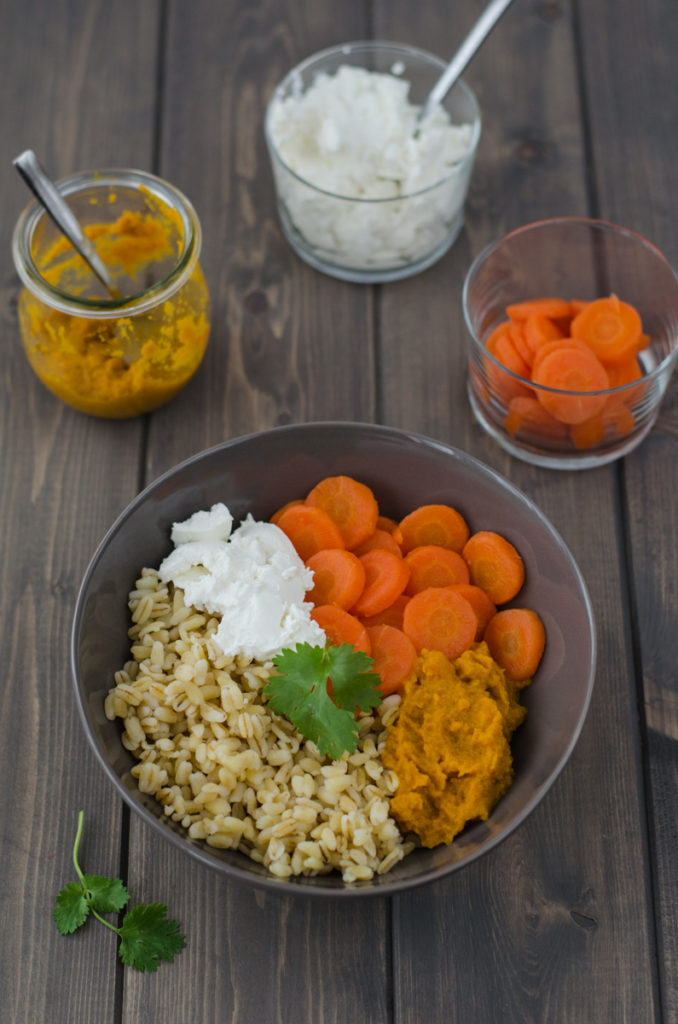 Wheat Berry Carrot Salad such a delicious thing with the fresh goat cheese and sweet, gently spicy carrot sauce, also perfect as a main dish.