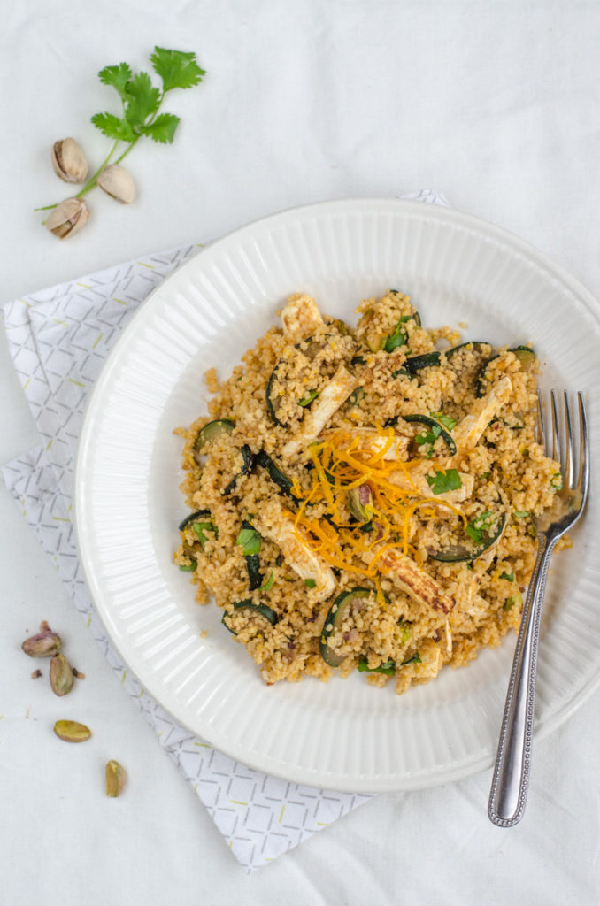 Courgette, Quorn and Pistachio Couscous and lightly spicy orange sauce is an easy, tasty and moist couscous, ideal as a summer main course.