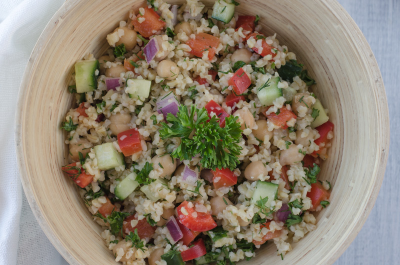 Bulgur Salad with Cucumber, Red Pepper, Chickpea, Lemon ...