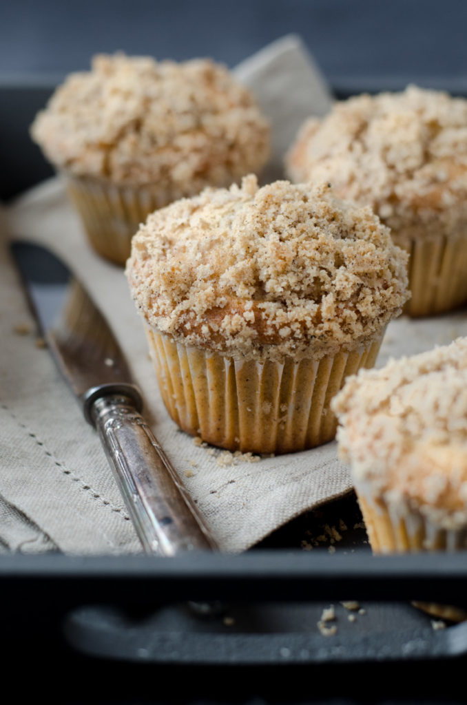 Lovely Cinnamon Cardamom Apple Muffins with Calvados and cardamom apple filling, topped with a spicy streusel. We love them and I hope you will too!
