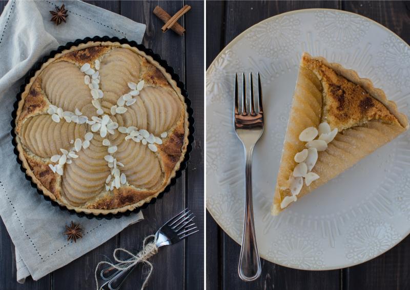 Francouzský hruškový koláč s mandlovou náplní se krásně hodí k podzimu – pošírované hrušky dodají koláči chuť badyánu, skořice a Calvadosu.