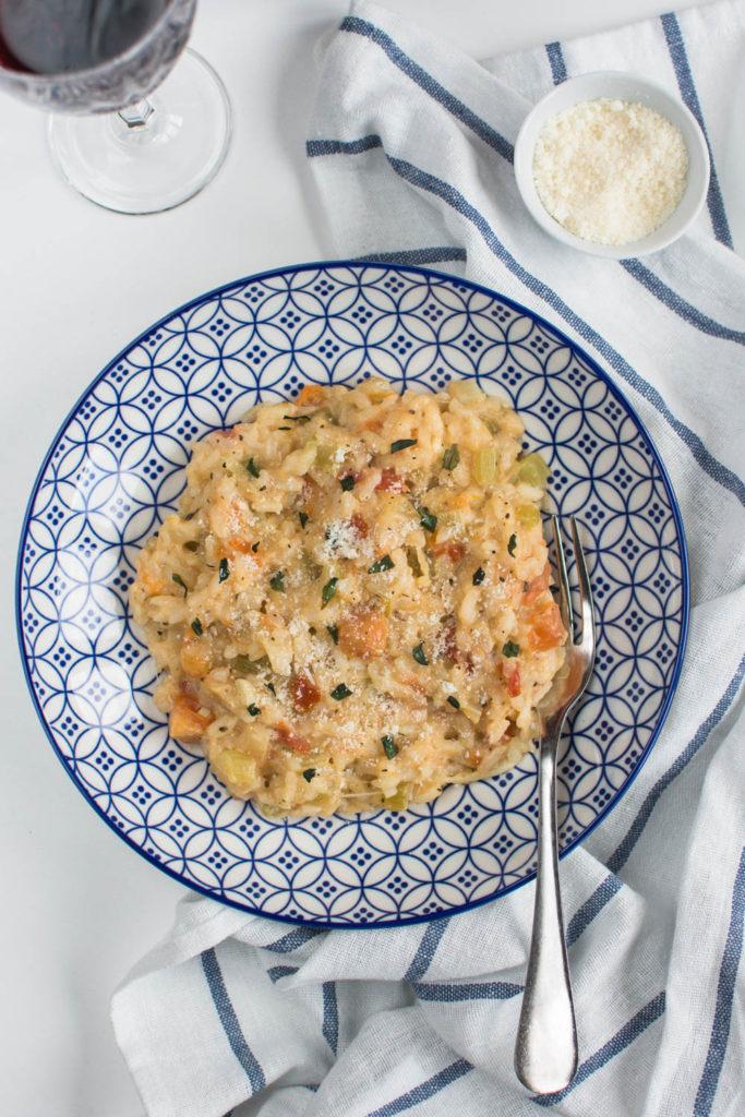 Three delicious ingredients such as Roma tomatoes, Mozzarella di Bufala, and fresh basil make this Creamy Tomato & Mozzarella Risotto such a yummy dish.
