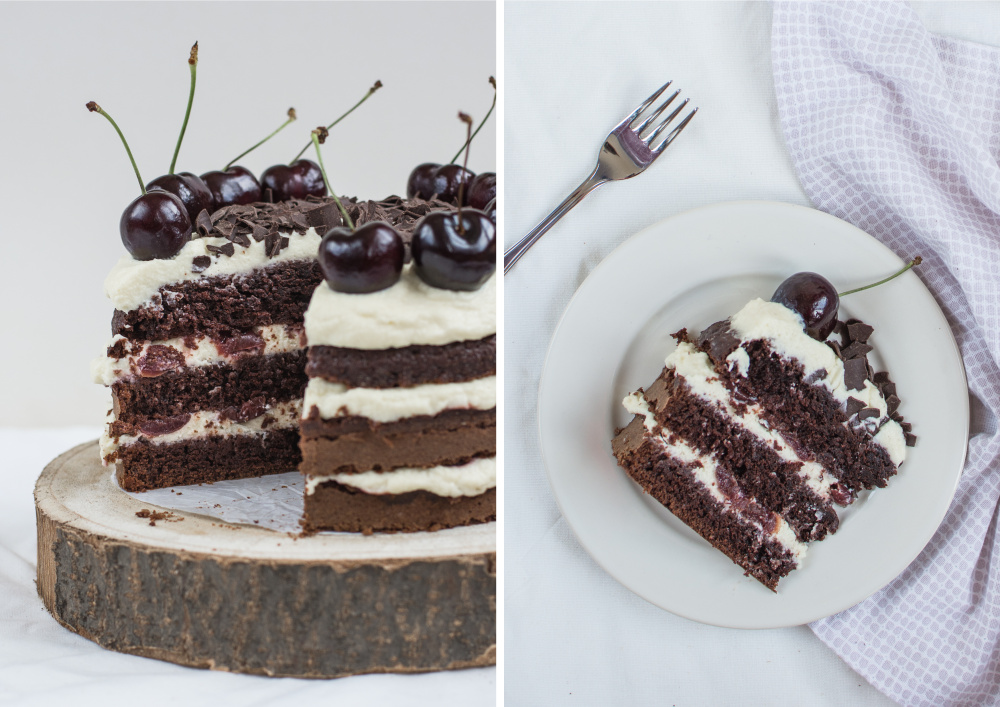 This Black Forest Cake is a three-layers chocolate cake with kirsch syrup, mascarpone cream and cherries, sprinkled with shredded chocolate and decorated with fresh cherries.