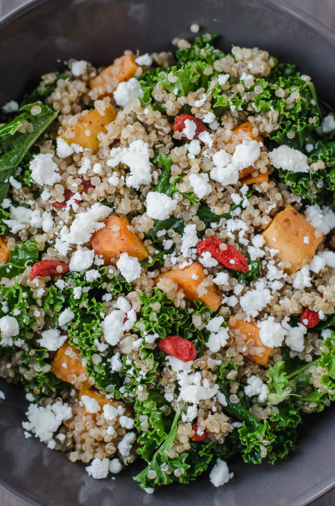 Kale, Quinoa & Sweet Potato Salad with Goji, Goat Cheese and Orange Dressing is a great example of a tasty and healthy vegetarian meal.