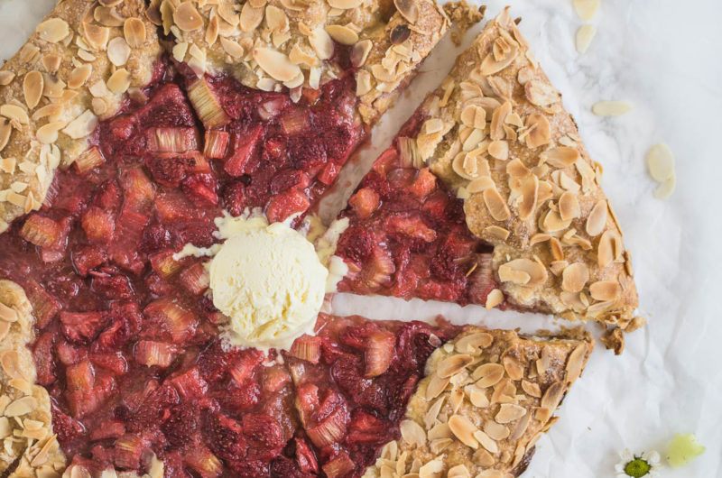 Rustic Strawberry & Rhubarb Almond Galette is a perfect, elegant yet easy to make summer dessert, especially when served with vanilla ice cream!